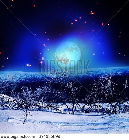 Night Mountain Landscape With Moon In Bitter Cold In Winter. Elements Of This Image Furnished By Nas