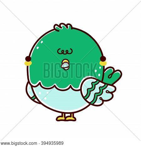 Cute Funny Pigeon Bird Character. Vector Flat Line Cartoon Kawaii Character Illustration Icon. Isola