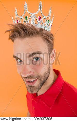 Funky Prince. Glory Seeking Man. Man Representing Power And Triumph. Business King. Cheerful Guy Wea