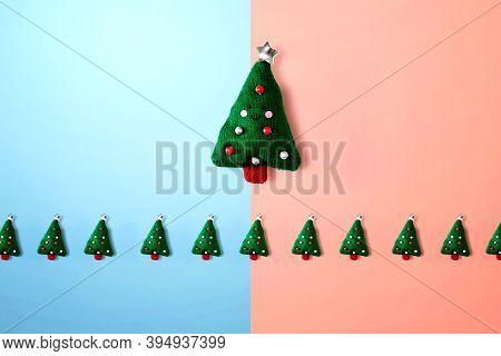 Christmas Cushion Trees Overhead View - Flat Lay