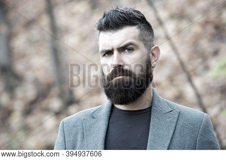 Hipster Appearance. Man Bearded Hipster Stylish Fashionable Coat. Stylish Beard And Mustache Fall An