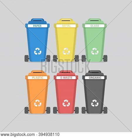 Different Colored Trash Cans. Sorting Waste For Recycling. Vector Illustration.