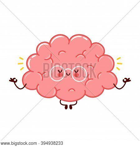 Cute Funny Human Brain Organ Meditate Character. Vector Flat Line Cartoon Kawaii Character Illustrat