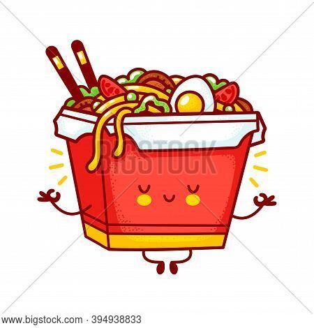 Cute Funny Happy Wok Noodle Box Character Meditate. Vector Flat Line Cartoon Kawaii Character Illust
