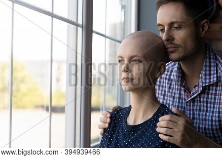 Caring Husband Standing Behind Back Of Beloved Wife Oncological Patient