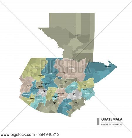 Guatemala Higt Detailed Map With Subdivisions. Administrative Map Of Guatemala With Districts And Ci