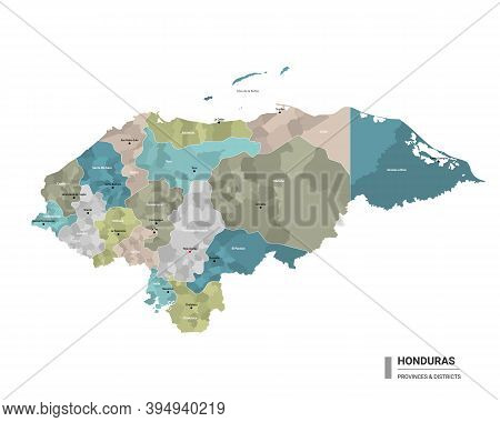 Honduras Higt Detailed Map With Subdivisions. Administrative Map Of Honduras With Districts And Citi