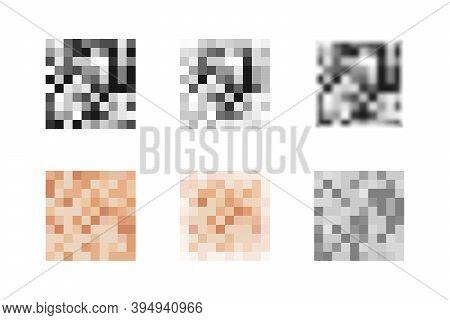 Collection Of Pixel Censor Blur Effect Textures. Skin Color, Gray, Black Blurred Censorship Icons. V