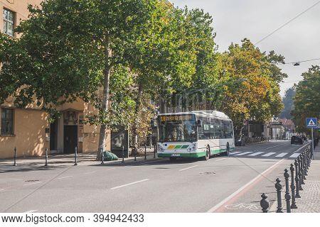 Ljubljana, Slovenia, October 2020: City Bus On The Street In Ljubljana