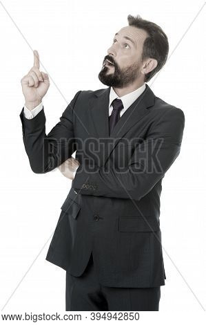 Man Advisor Pointing Advertisement Isolated On White. Business Advisor Manager Show Direction. Look