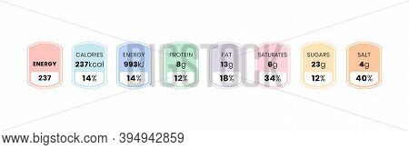 Nutrition Facts And Daily Value Information Label Template Per Serving. Vector Illustration Of Food