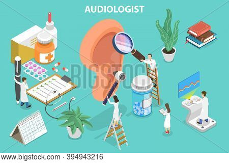 3d Isometric Flat Vector Conceptual Illustration Of Audiology