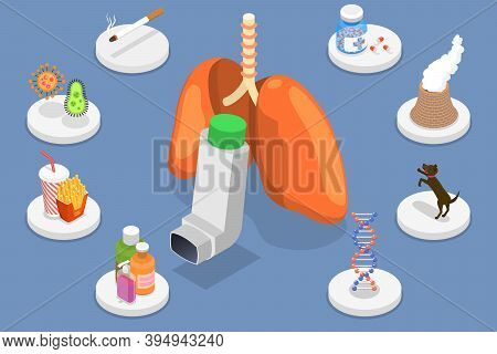 3d Isometric Flat Vector Conceptual Illustration Of Bronchial Asthma Causes