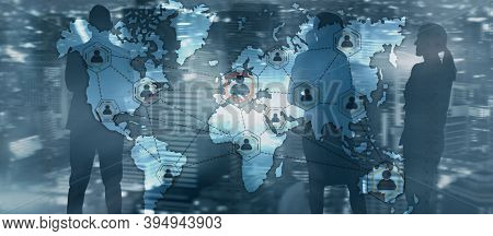 Global Outsourcing Resources Business Internet Technology Concept On City People Background.