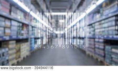 Barcode Mark Market Item Concept On Blurred Shop Background.