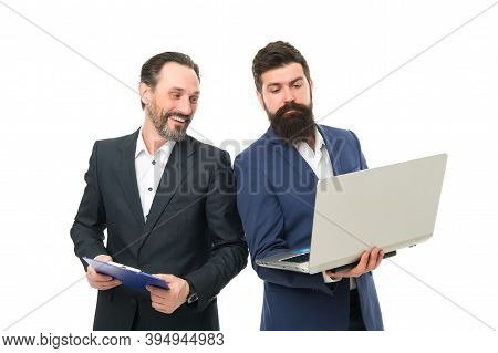 Employees And Employment. Male Employees Isolated On White. Businessmen Brainstorm Using Computer. D