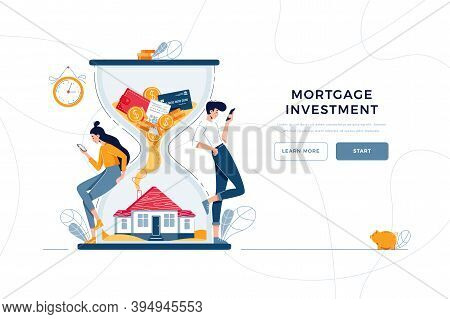 Mortgage Investment Landing Page Template. Rising Housing Market, Concept For Web. Man And Woman Buy