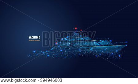 Abstract 3d Illustration Of Yacht In Dark Blue. Yachting Sport, Sailing, Business, Travel Concept. D