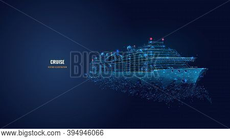 Digital Low Poly 3d Cruise Ship In Dark Blue. Travelling By Sea, Ocean Voyage, Business, Cruise Or H