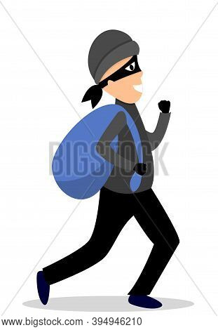 Thief On A White Background. The Thief Runs Away With A Bag Of Money, Stolen Things. Angry Man With