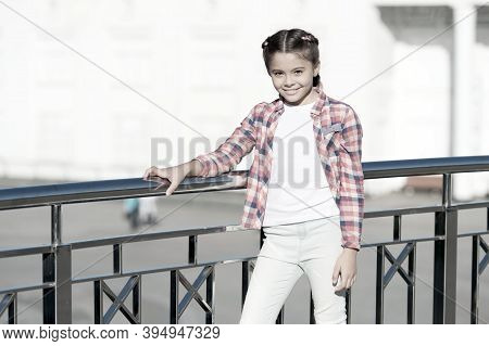 Girl Cute Kid Urban Background. Activities For Teenagers. Vacation And Leisure. Weekend Events For K