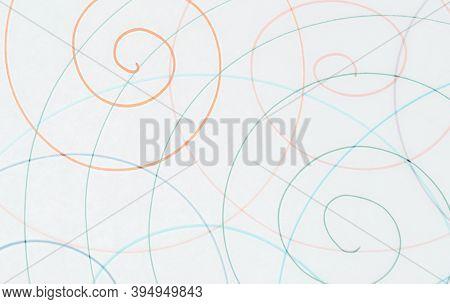 Orange Abstract Scribble Wallpaper. Random Pen Drawing. School Modern Spiral. Entangled Radial Desig