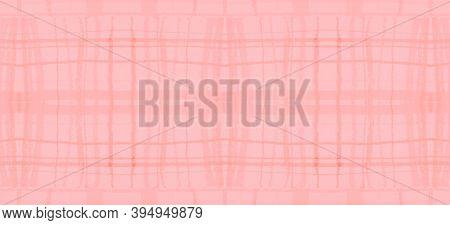 Watercolour Pink Plaid. Kids Elegant Picnic Pattern. British Textured Cloth. Seamless Pink Plaid. Pa