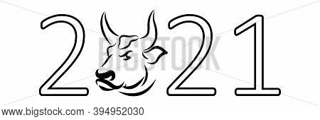 New 2021 Year Of The Ox. The Symbol Of The Chinese New Year Is A White Metal Bull. A Bull Or A Cow I