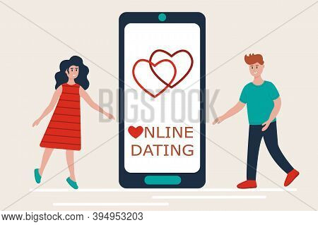 Online Dating, Long Distance Relationships, Virtual Love Concept. Couple Meeting Near Smartphone Usi