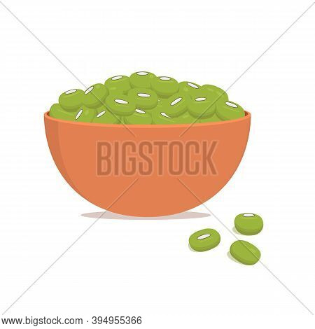 Ceramic Bowl With Mung Beans Or Maash Isolated On White Background. Vector Flat Illustration.