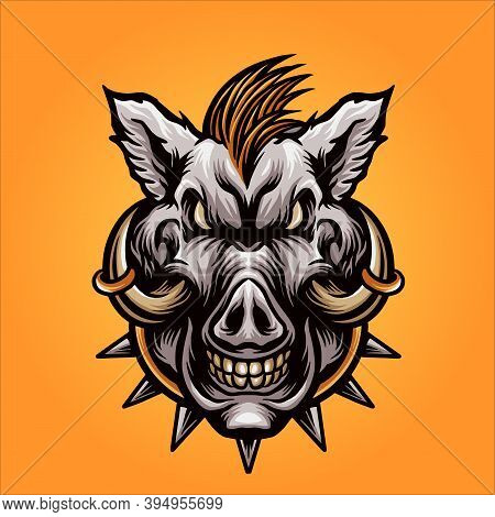 The Angry Boar Head For Your Work Logo Merchandise Clothing Line, Stickers And Poster, Greeting Card