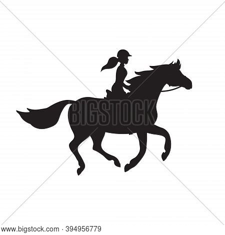 Vector Flat Girl Woman Riding A Galloping Horse Silhouette Isolated On White Background
