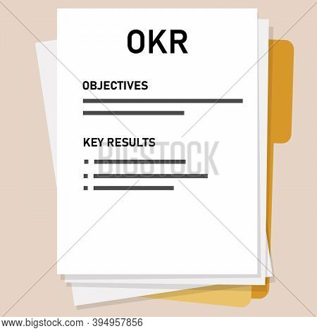 Okr Objectives And Key Results List On Paper Tracking Employee Measure Target In Company