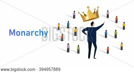 Monarchy Form Of Government With A Monarch King At The Head Crowd Of People With Leader Royalty Wear