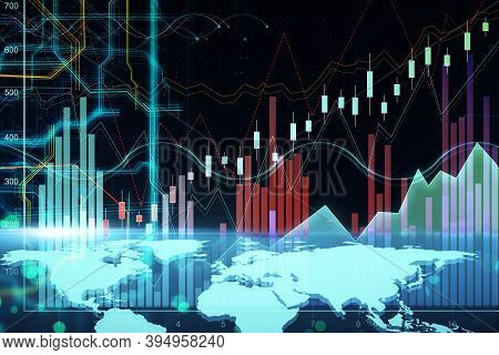 Glowing Digital World Map With Forex Charts. Global Business And Invest Concept. 3d Rendering