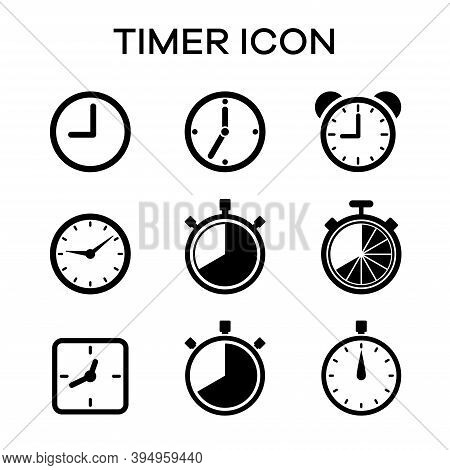 Collection Of Time And Hour Marker Icons. Suitable For Design Elements Of Clock, Time Limit, And Dur