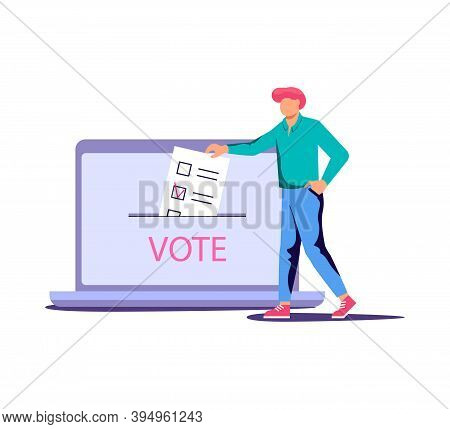 Concept Of Electronic Voting. Tiny People Put On Their List Newsletters To Voting Box On Electoral I