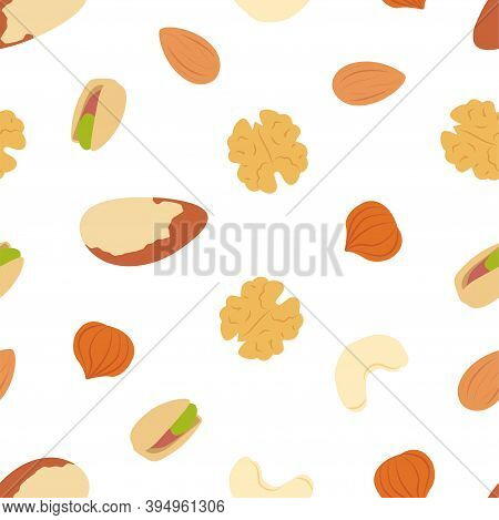 Brazilian Nut, Pistachio, Almond, Hazelnut, Cashew And Walnut. Vector Seamless Pattern Eps.
