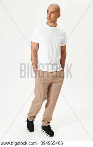 Man in a white t-shirt mockup