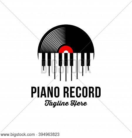 Vinyl Record And Piano Key Music Instrument Logo Design