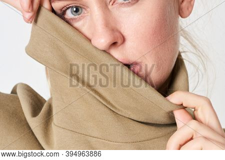 Woman in a polo neck top mockup