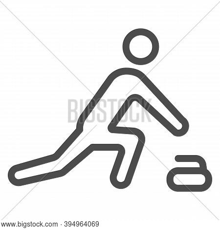 Curling Player Line Icon, Winter Sport Concept, Curling Sport Game Sign On White Background, Curler