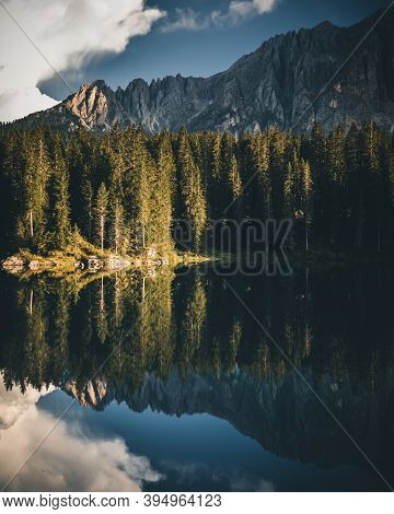 Lake Carezza In The Dolomites With A Perfect Reflection, Dolomites, Italy