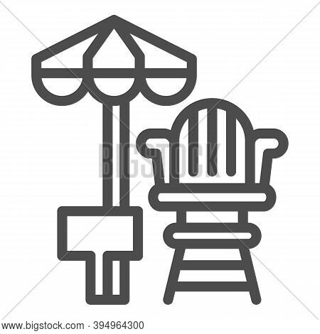 Lifeguard Chair And Beach Umbrella Line Icon, Aquapark Concept, First Aid And Rescue On Beach Sign O