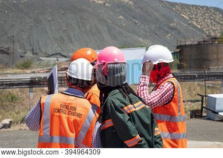 group of mine workers at a diamond mine in Botswana