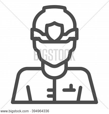 Police Officer In Helmet Line Icon, Law Enforcement Concept, English Police Sign On White Background