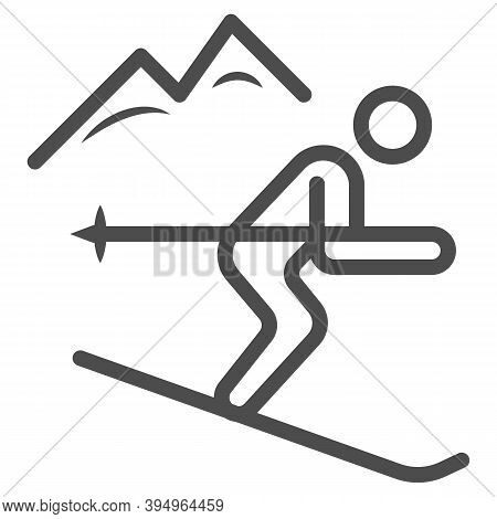Downhill Skiing Line Icon, Winter Sport Concept, Snow Skiing Sign On White Background, Ski Downhill
