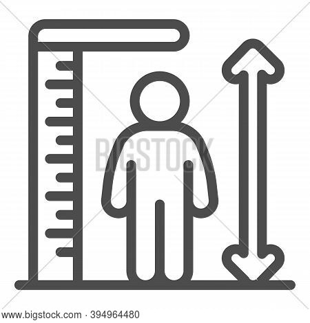 Ruler And Human Height Line Icon, Aquapark Concept, Man Tall Scale Sign On White Background, Man And