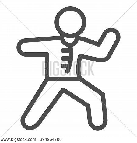 Karate Sportsman Line Icon, Self Defense Concept, Karate Kick Sign On White Background, Martial Arts