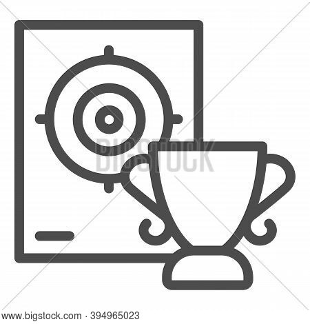 Cup And Target Line Icon, Self Defense Concept, Shooting Range And Goblet Sign On White Background,